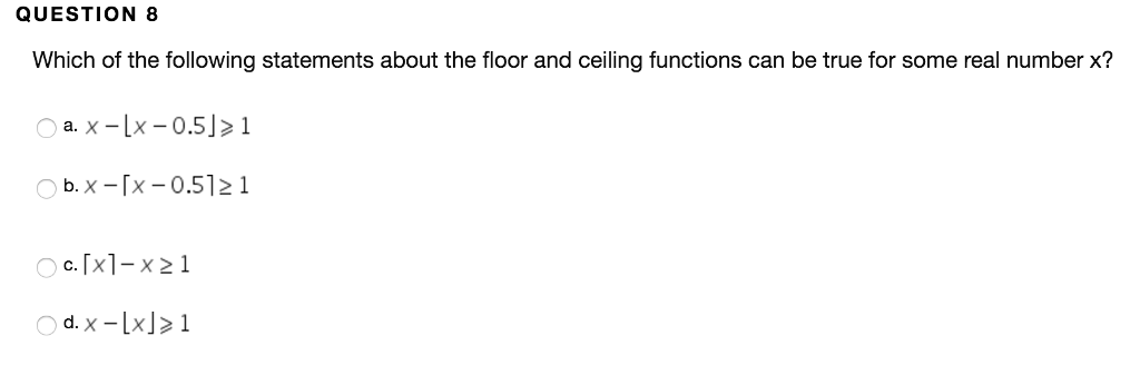 Solved: Which Of The Following Statements About The Floor ...