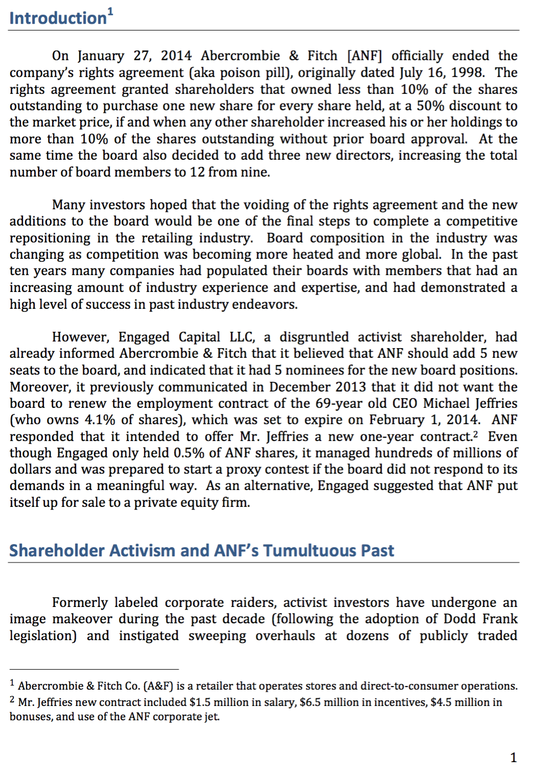 Solved: Abercrombie & Fitch Case Study - Need Help Answeri ...