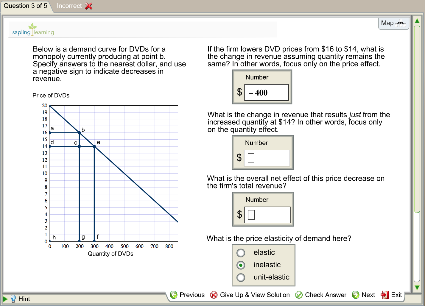 Solved: Below Is A Demand Curve For DVDs For A Monopoly Cu ...