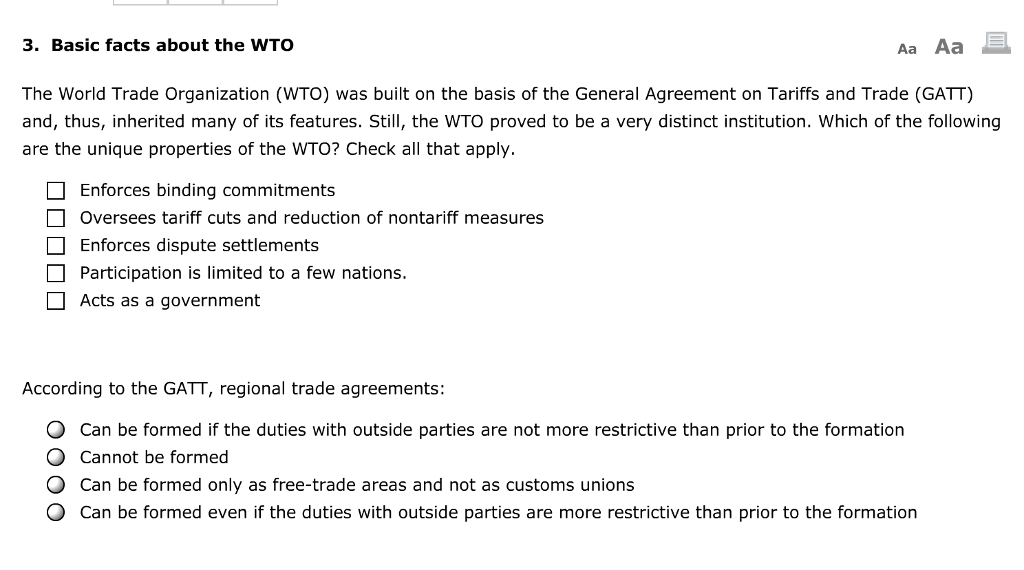 Solved 3 Basic Facts About The Wto Aa Aa The World Trade