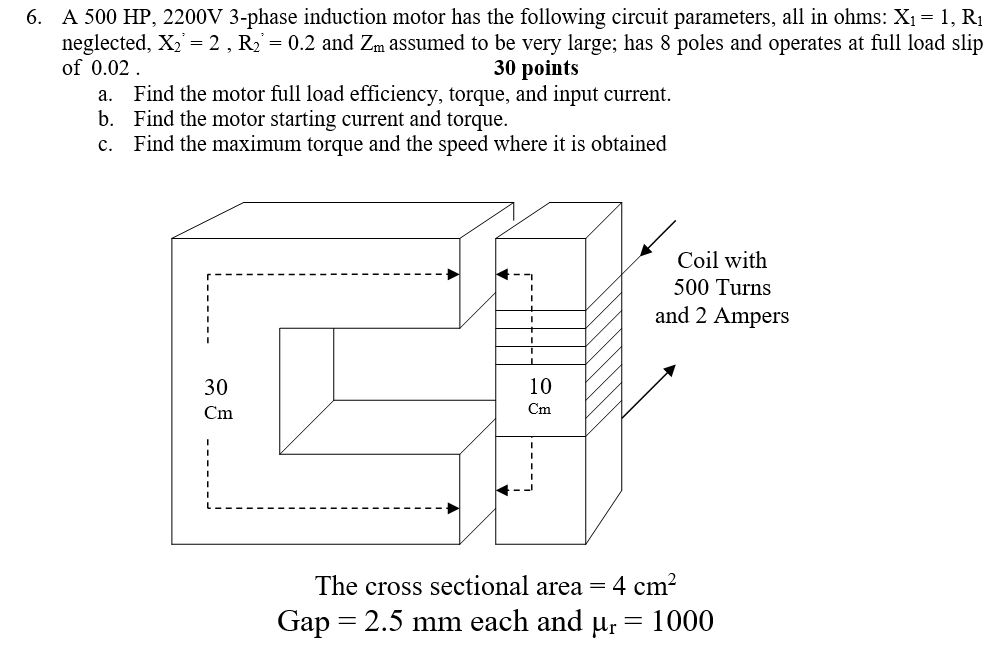 a 500 hp, 2200v 3-phase induction motor has the following circuit