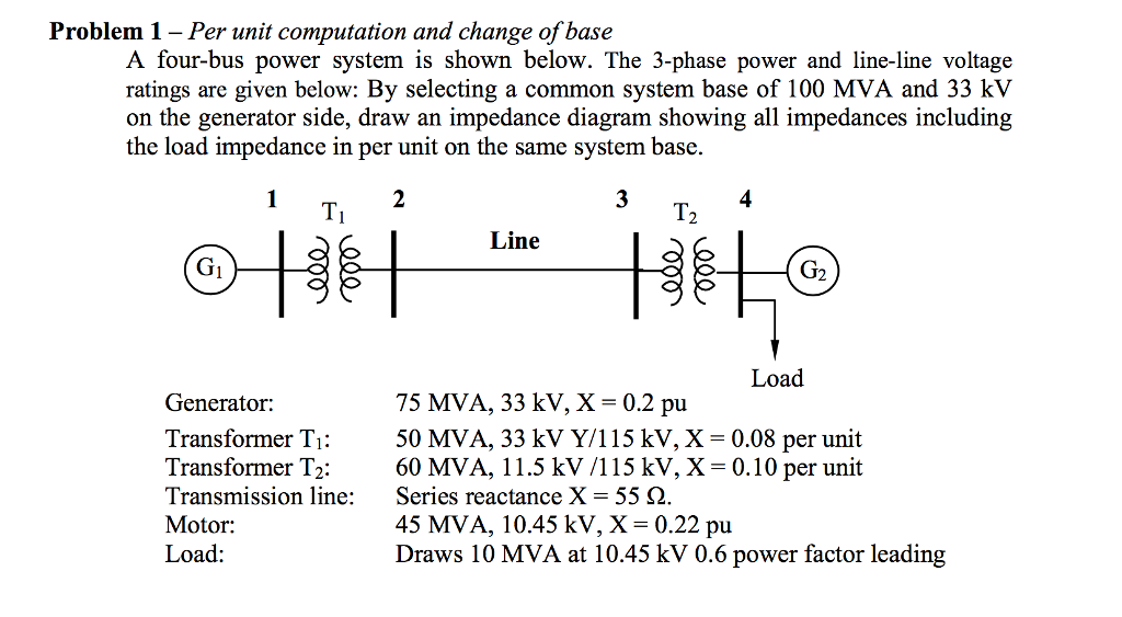 Solved: A Four-bus Power System Is Shown Below  The 3-phas