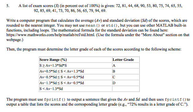 Solved: 5. A List Of Exam Scores (S) (in Percent Out Of 10