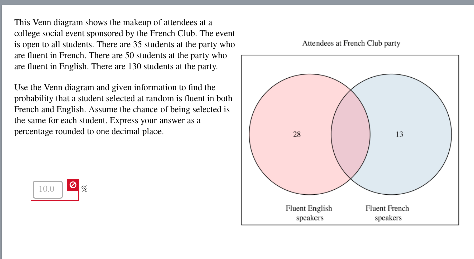 Solved this venn diagram shows the makeup of attendees at question this venn diagram shows the makeup of attendees at a college social event sponsored by the french ccuart