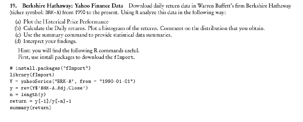 Solved 19 Berkshire Hathaway Yahoo Finance Data Downloa