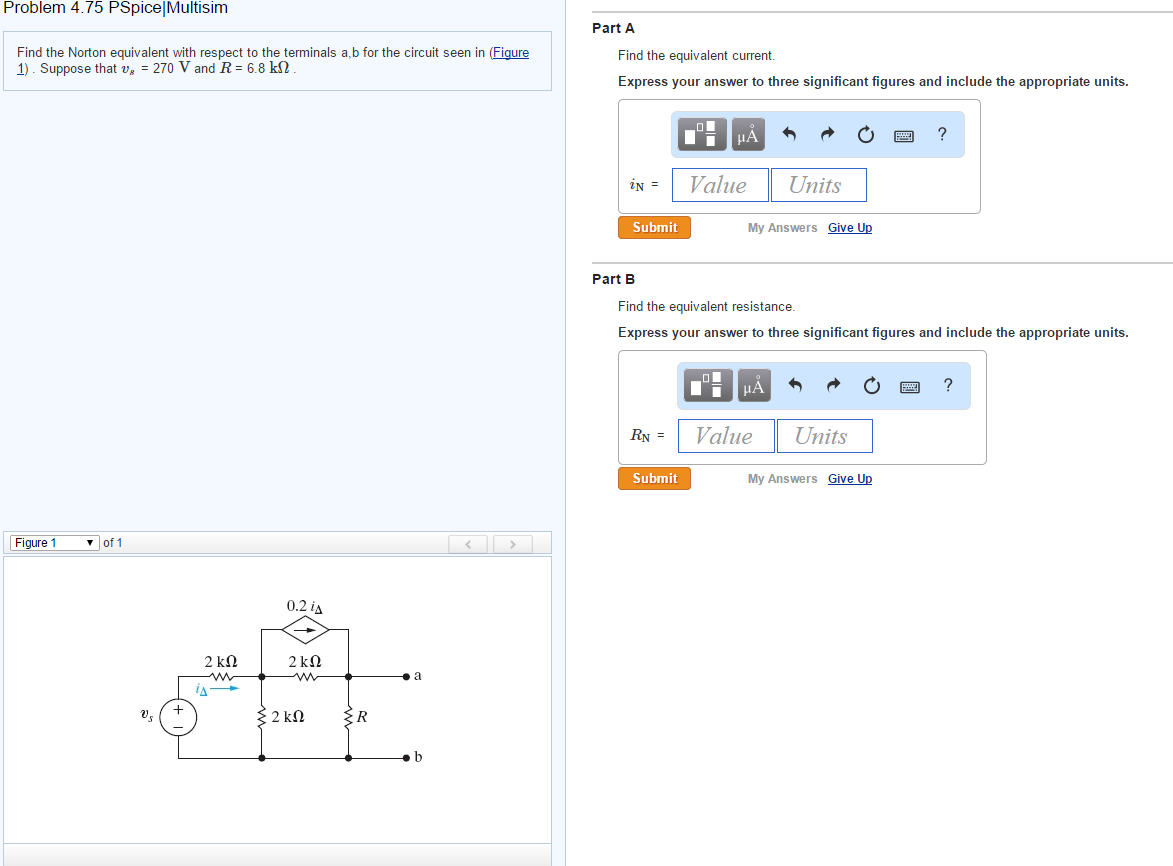Electrical engineering archive march 23 2015 chegg image for problem 475 pspicemultisim find the norton equivalent with respect to the terminals fandeluxe Choice Image
