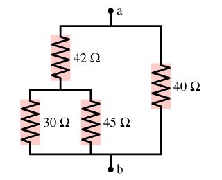 What is the equivalent resistance between points a
