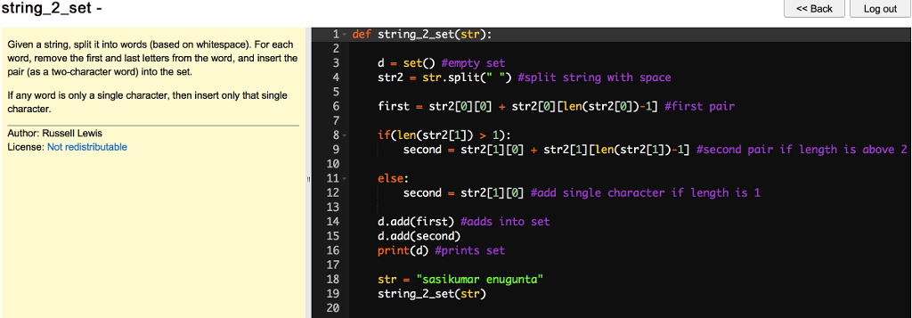 Solved: String_2_set - 1): If Any Word Is Only A Single Ch