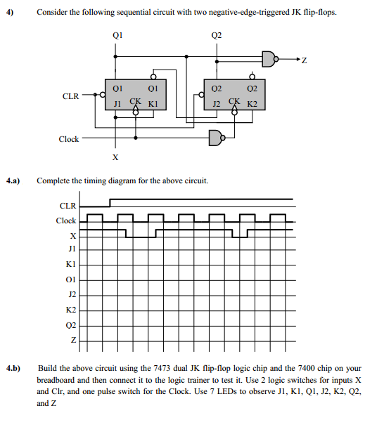 solved complete the timing diagram for the following sequ rh chegg com