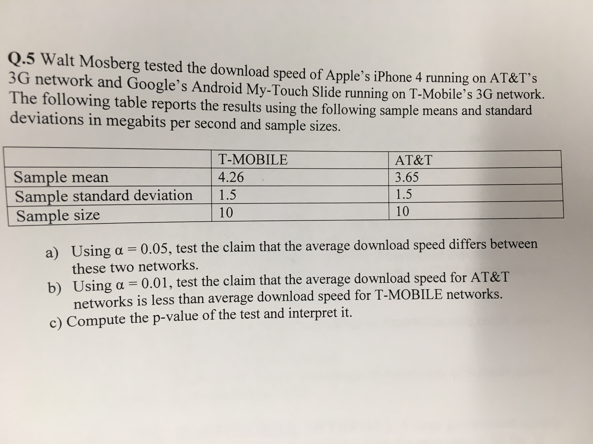 Solved: Walt Mosberg Tested The Download Speed Of Apple's
