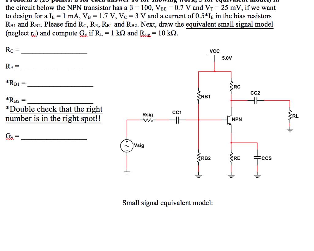 Solved The Circuit Below Npn Transistor Has A Beta Circuits 100 Vbe 07 V
