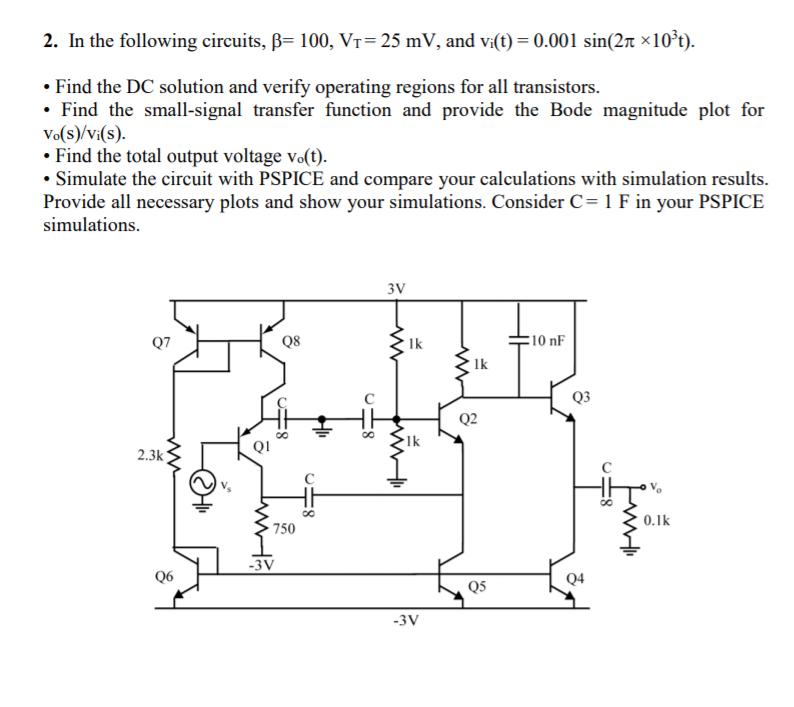 solved 2 in the following circuits b 100 vt 25 mv an rh chegg com