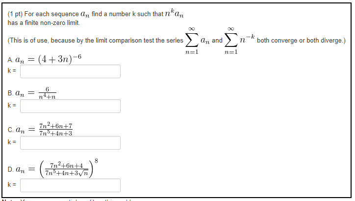 (1 Pt) For Each Sequence An Find A Number K Such That N *