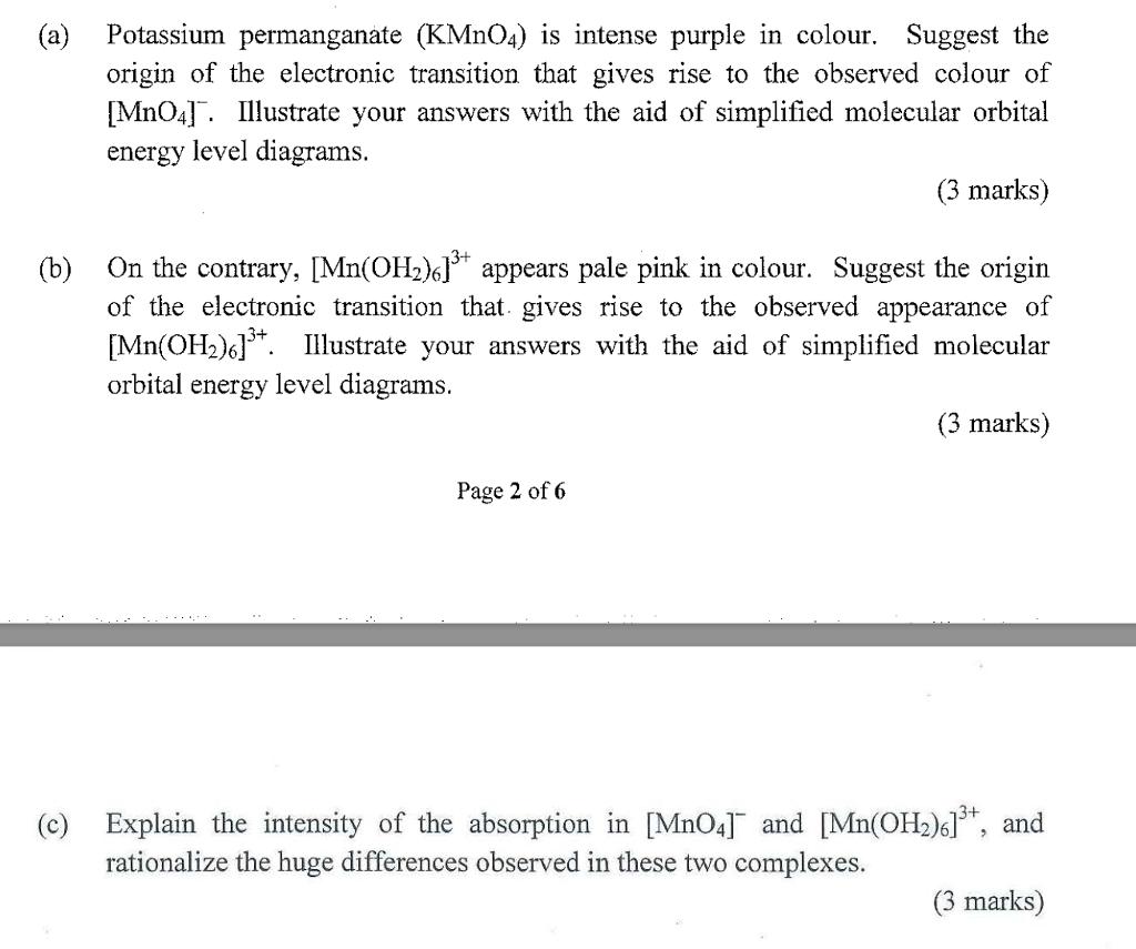 Solved A Potassium Permanganate Kmn04 Is Intense Purp