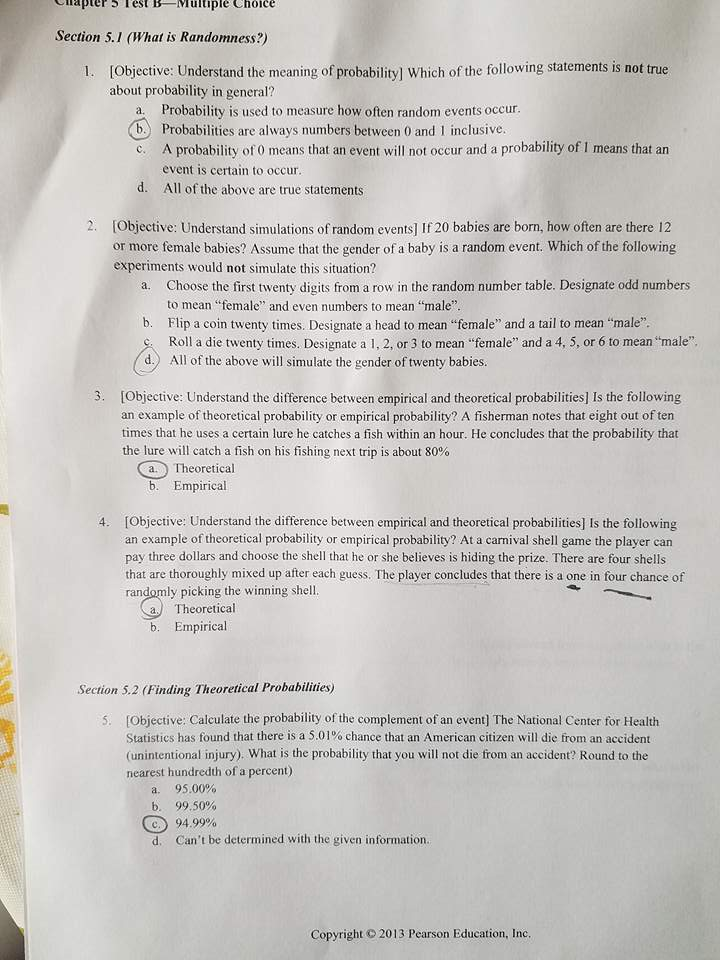 Lapter3 Lest BMultiple Choice Section 51 What Is Randomness Objective