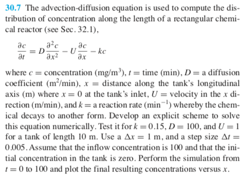 Solved: 30 7 The Advection-diffusion Equation Is Used To C