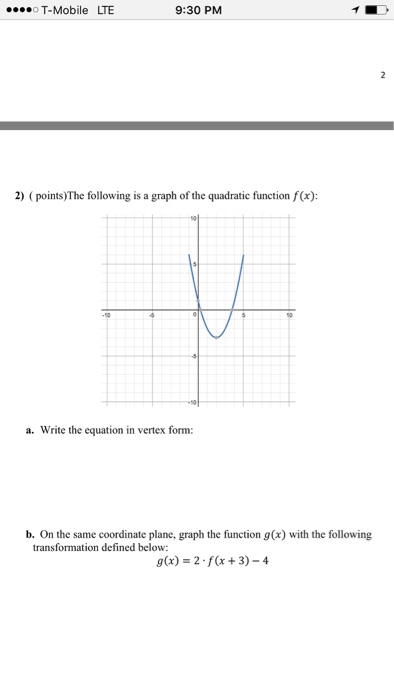 Solved The Following Is A Graph Of The Quadratic Function
