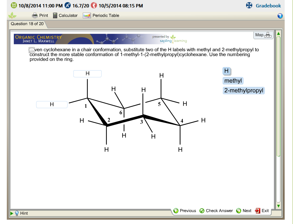 Solved Given Cyclohexane In A Chair Conformation Substit