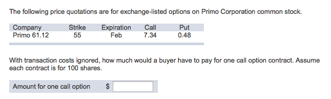 Solved: The Following Price Quotations Are Exchange-listed ...