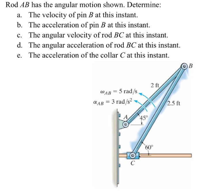 solved rod ab has the angular motion shown determine a