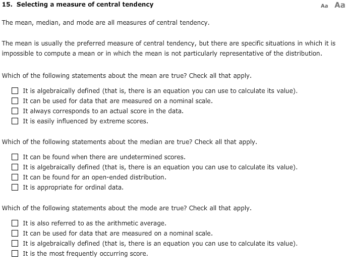 application of measures of central tendency