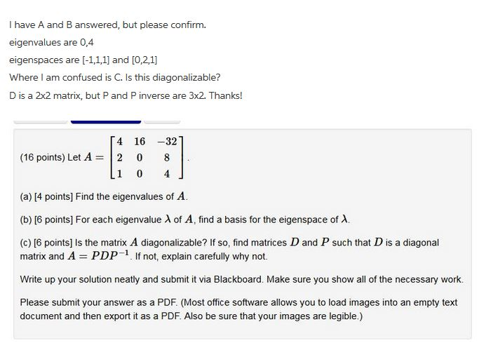 Solved: I Have A And B Answered, But Please Confirm  Eigen