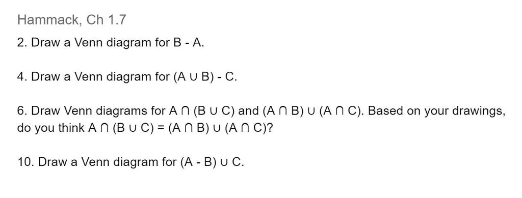 Solved Draw A Venn Diagram For B A Draw A Venn Diagram F