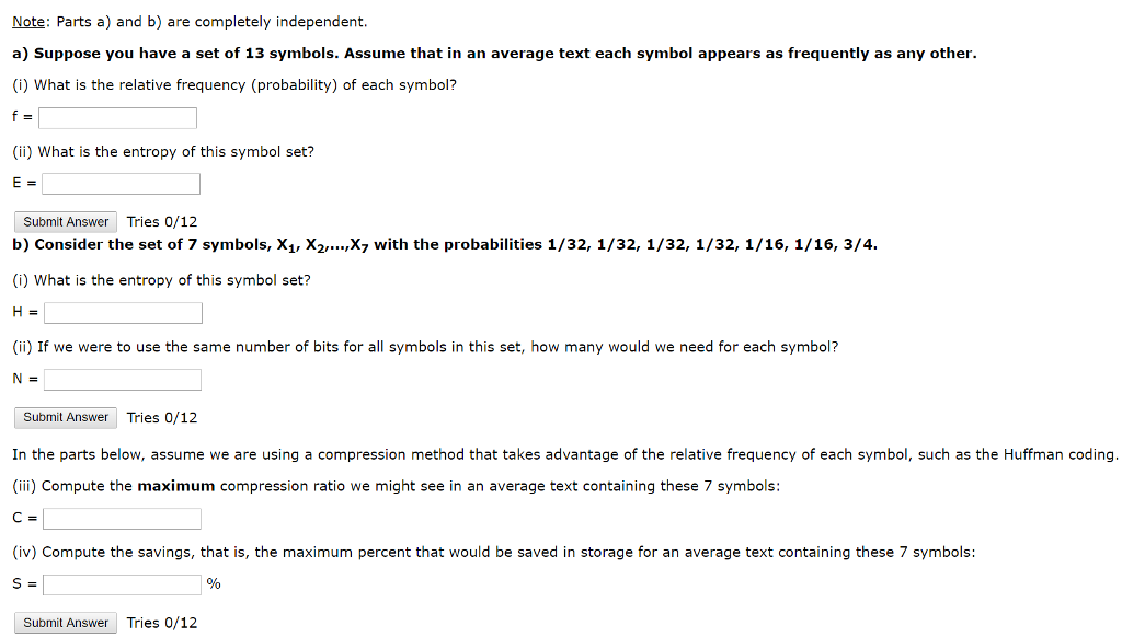 Solved Suppose You Have A Set Of 13 Symbols Assume That