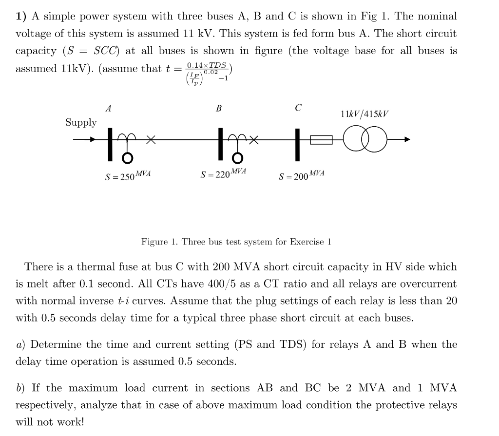 Solved 1 A Simple Power System With Three Buses B And Delay Circuit C Is Shown