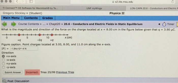 Solved: What Is The Magnitude And Direction Of The Force O