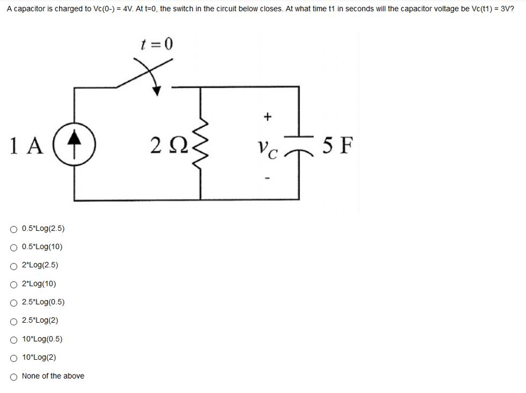 Solved: A Capacitor Is Charged To Vc(0-) = 4V. At T=0, The ...