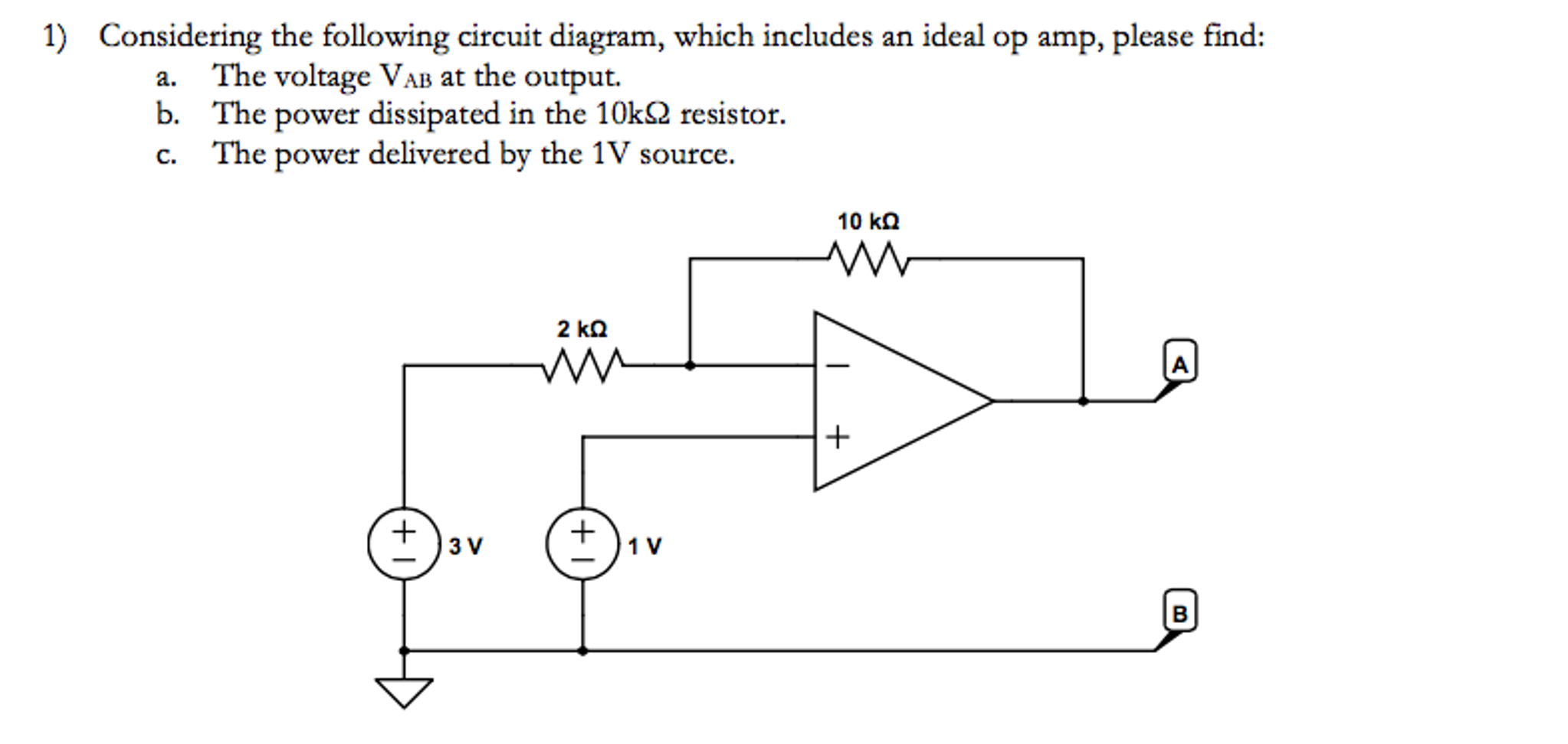 Solved Considering The Following Circuit Diagram Which I Op Amp