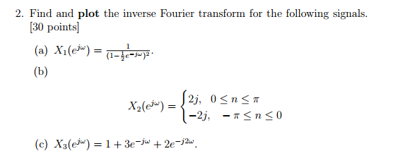 Solved: Find And Plot The Inverse Fourier Transform For Th ...