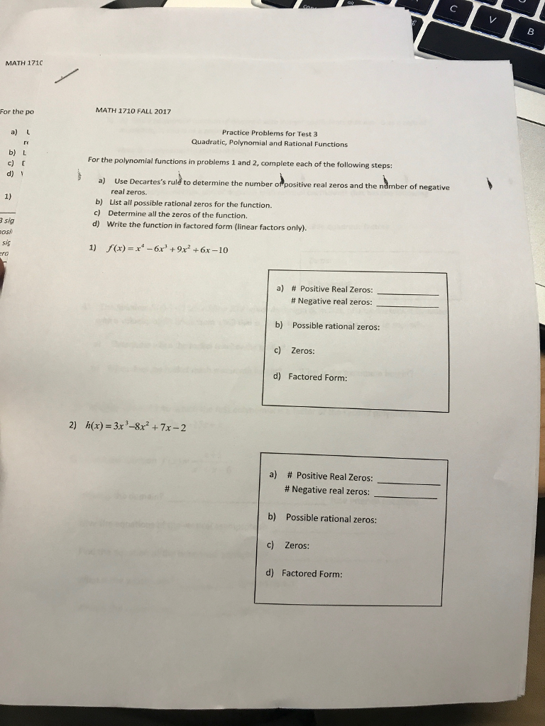 Solved: レ 8 MATH 171C For The Po MATH 1710 FALL 2017 Prac