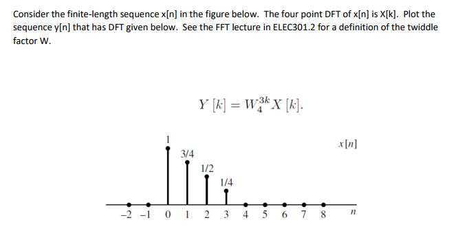 Consider The Finite Length Sequence XIn] In The Figure Below. The Four Point