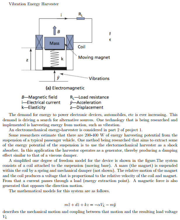 Vibration Energy Harvester RL Mass Coil K Moving M