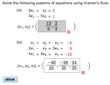 Algebra archive february 16 2017 chegg 1 answer solve the following systems of equations using cramers rule a 2x1 x2 3x1 5x2 fandeluxe Gallery
