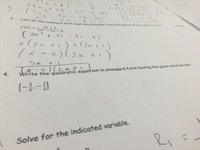 Solved Write The Quadratic Equation In Standard Form Havi