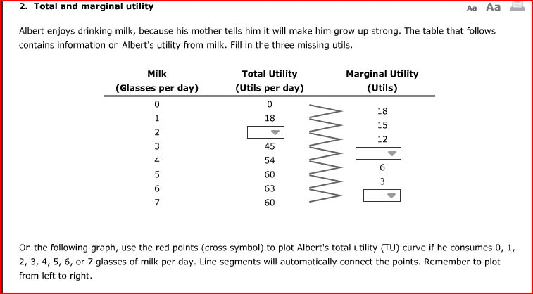 Solved 2 Total And Marginal Utility Aa Aa Albert Enjoys