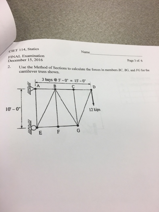 Solved: Use The Method Of Sections To Calculate The Forces ...