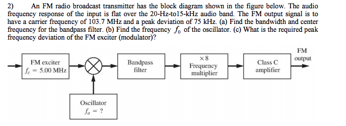 2) an fm radio broadcast transmitter has the block diagram shown in the  figure below