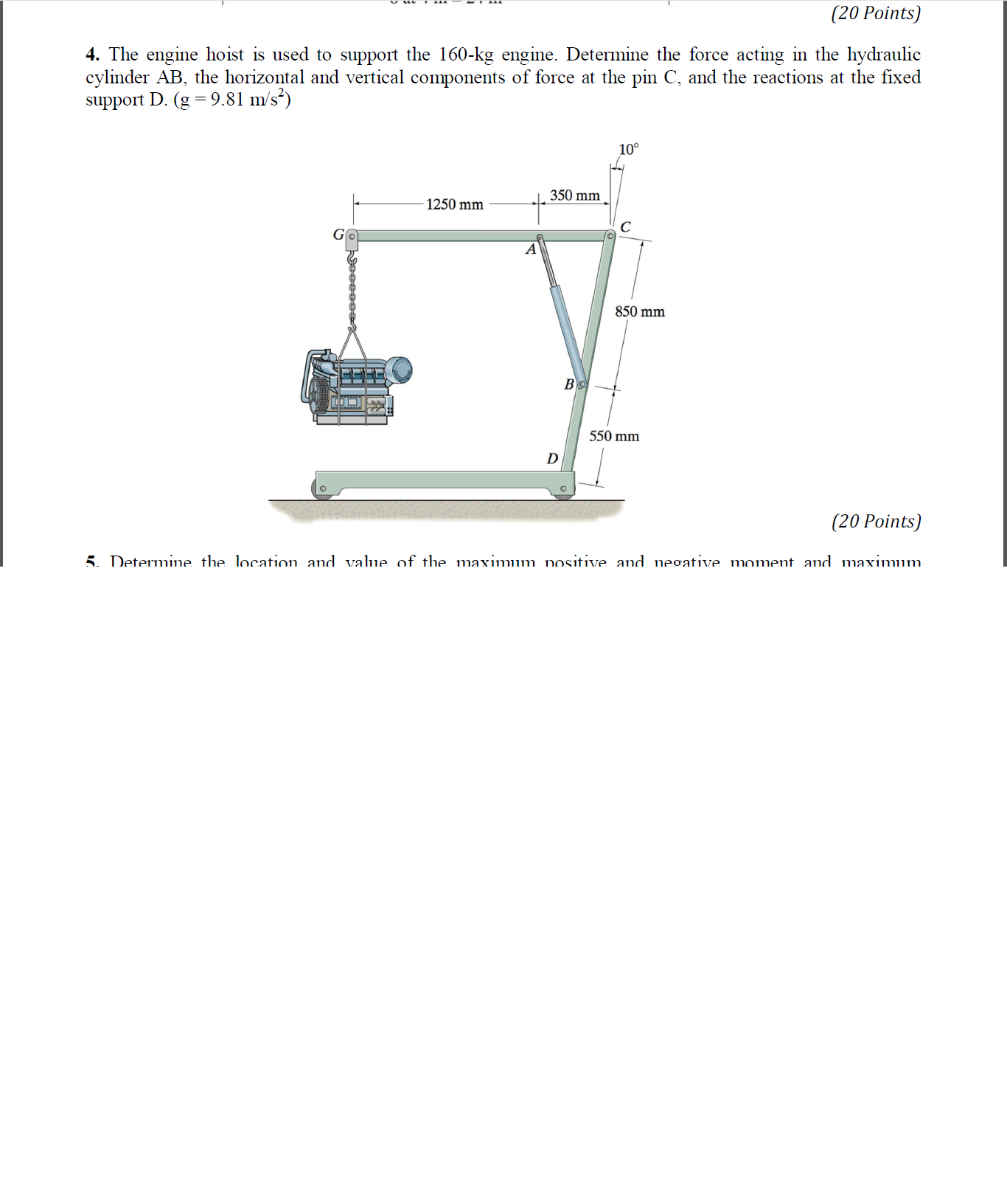 Question: The engine hoist is used to support the 160-kg engine. Determine  the force acting in the hydrauli.