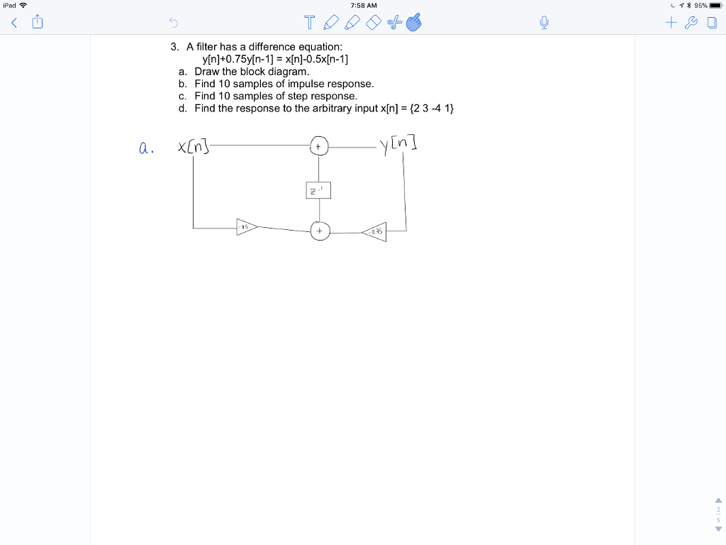 Solved Ipad 758 Am 95 3 A Filter Has Difference Block Diagram Equations