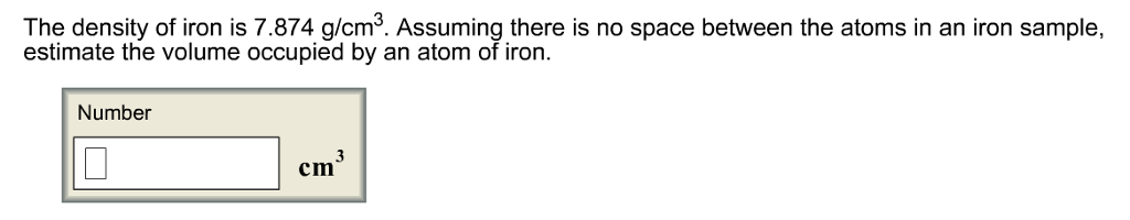 what is the density of iron