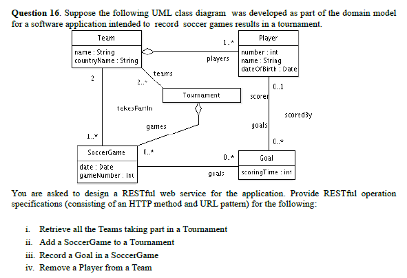 Solved question 16 suppose the following uml class diagr suppose the following uml class diagram was developed as part of the domain ccuart Images