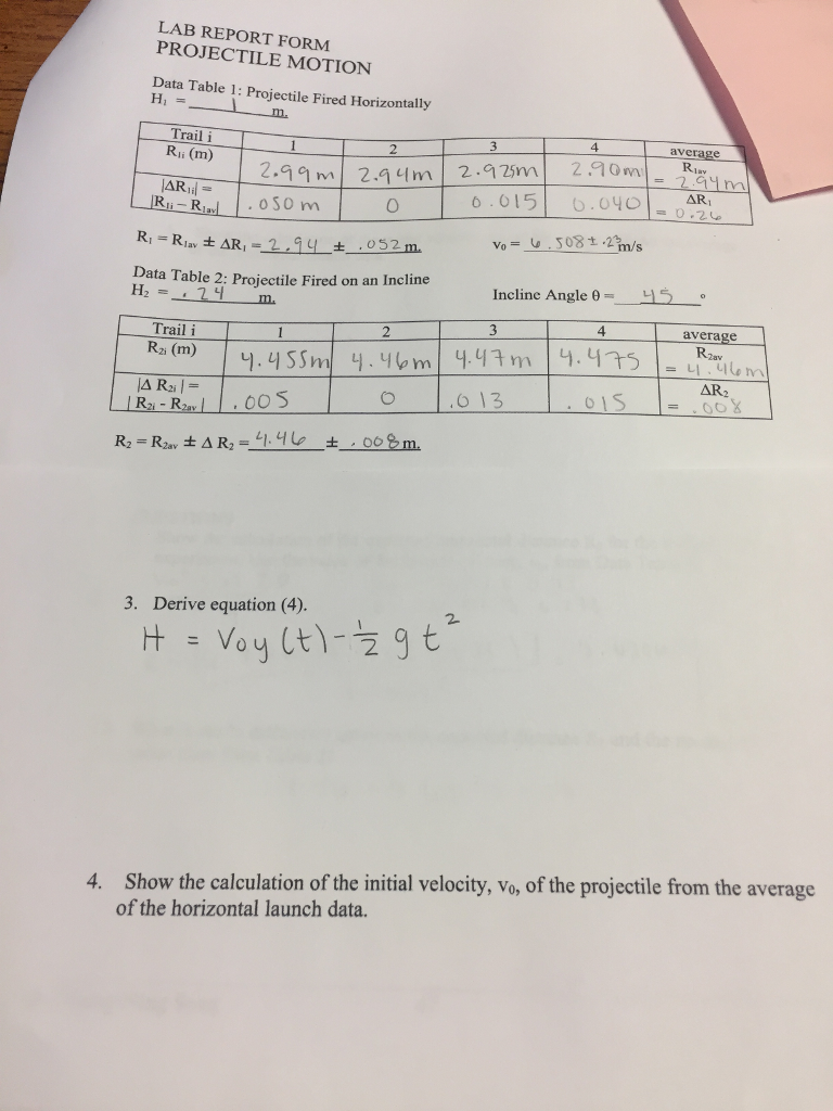 Solved: LAB REPORT FORM PROJECTILE MOTION Data Table 1: Pr