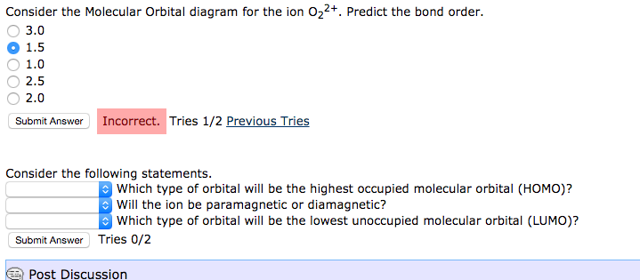 Solved Consider The Molecular Orbital Diagram For The Ion