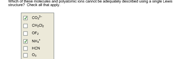 Solved Which Of These Molecules And Polyatomic Ions Canno