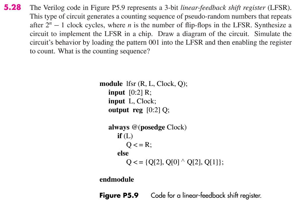 Solved: 5 28 The Verilog Code In Figure P5 9 Represents A