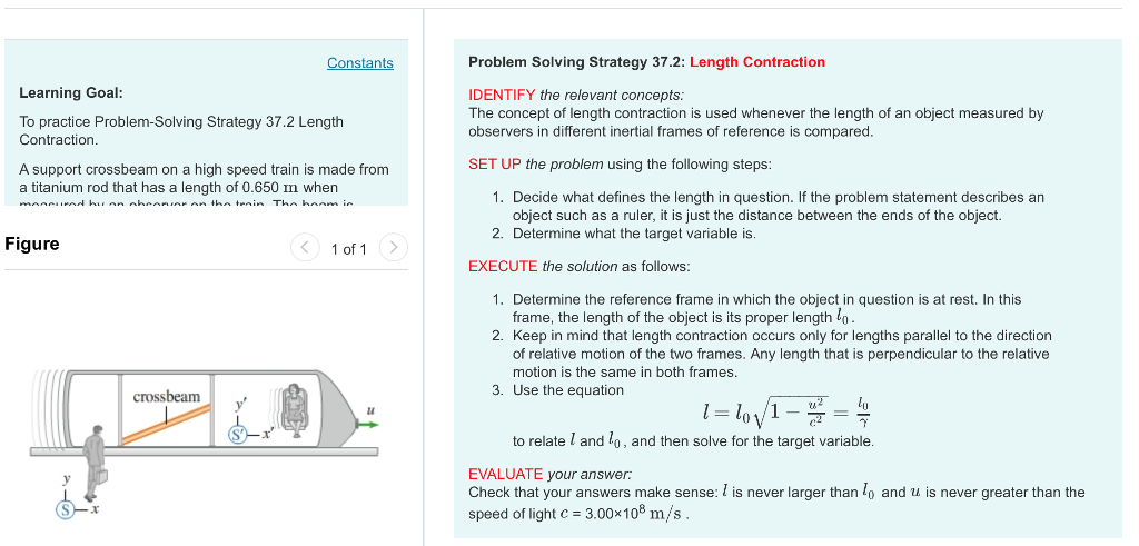 Solved: Problem Solving Strategy 37.2: Length Contraction ...